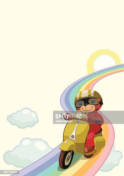 background with teddy motorcyclist - moped stock illustrations, clip art, cartoons, & icons