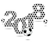 Background with the sign 2018 and soccer ball