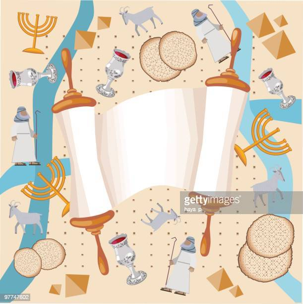background with torah and symbols of passover, exodus - passover stock illustrations