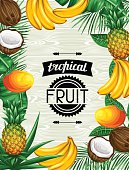 Background with tropical fruits and leaves. Design for advertising booklets