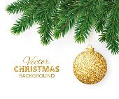 Background with vector christmas tree branches and hanging glitter ball