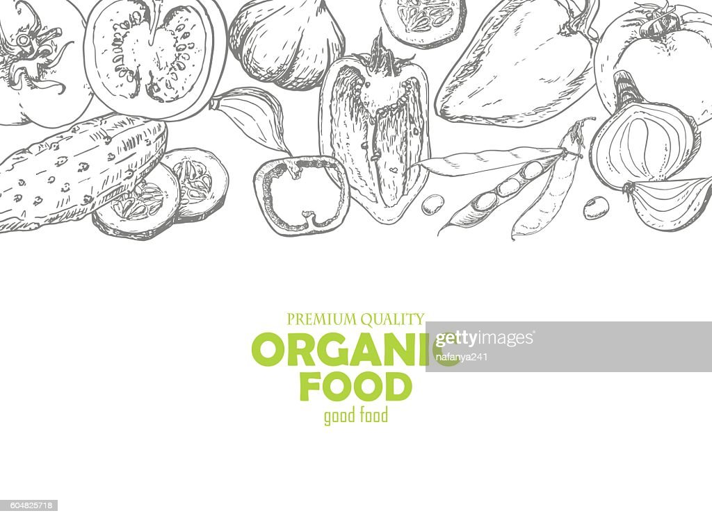 Background with vegetables in sketch style