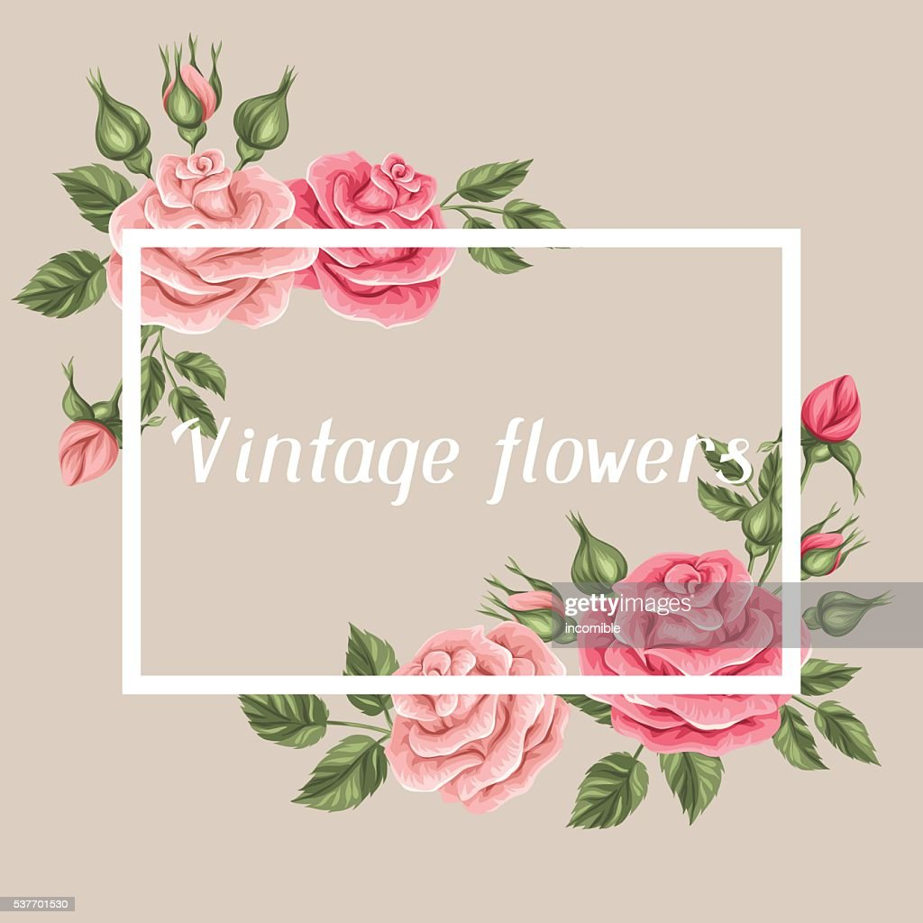 Background with vintage roses. Decorative retro flowers. Image for wedding