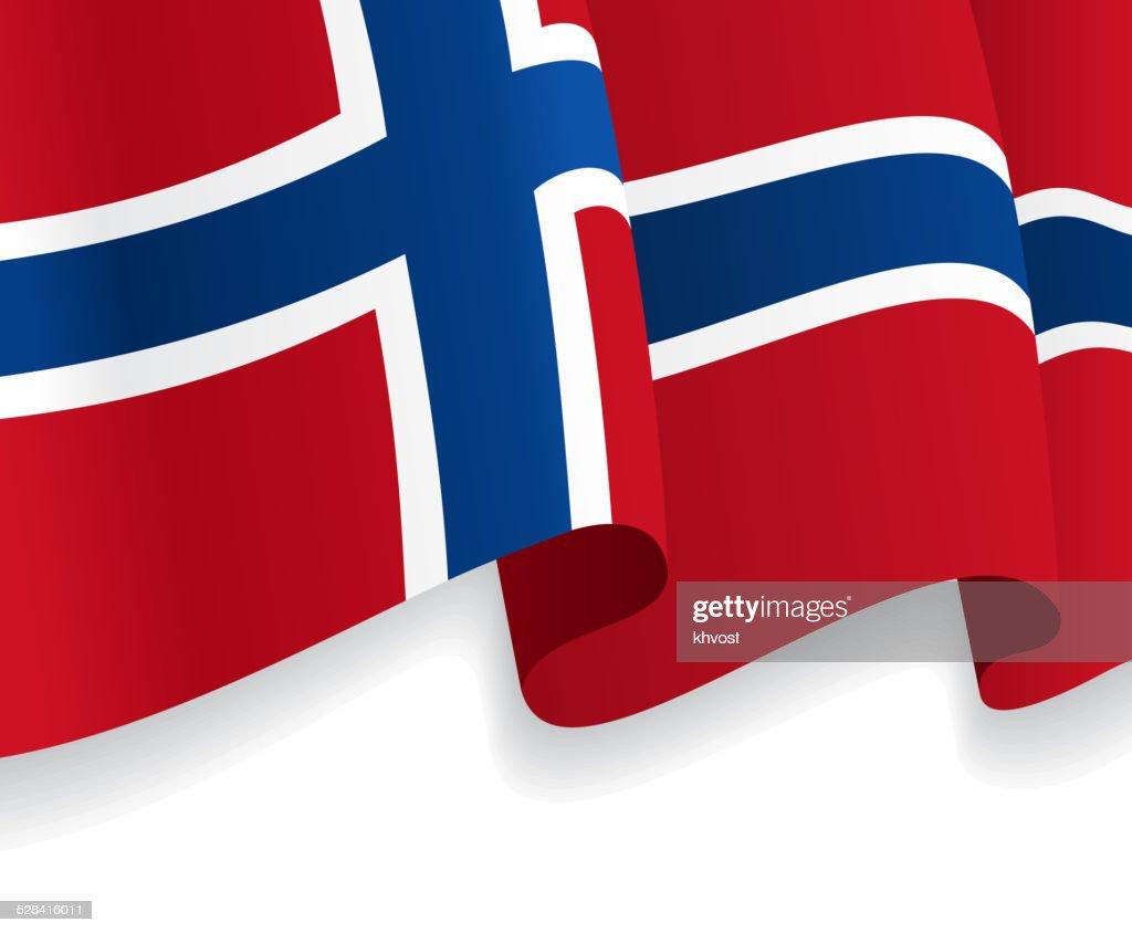 Background with waving Norwegian Flag. Vector