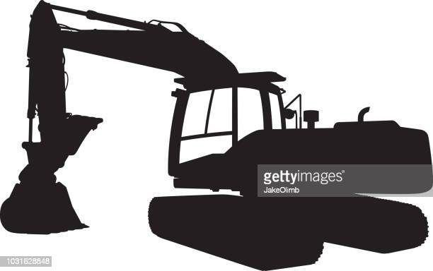 backhoe tractor silhouette - shovel stock illustrations