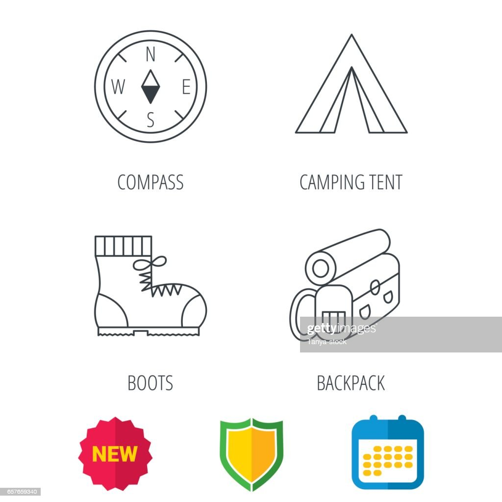 Backpack, camping tend and hiking boots icons.