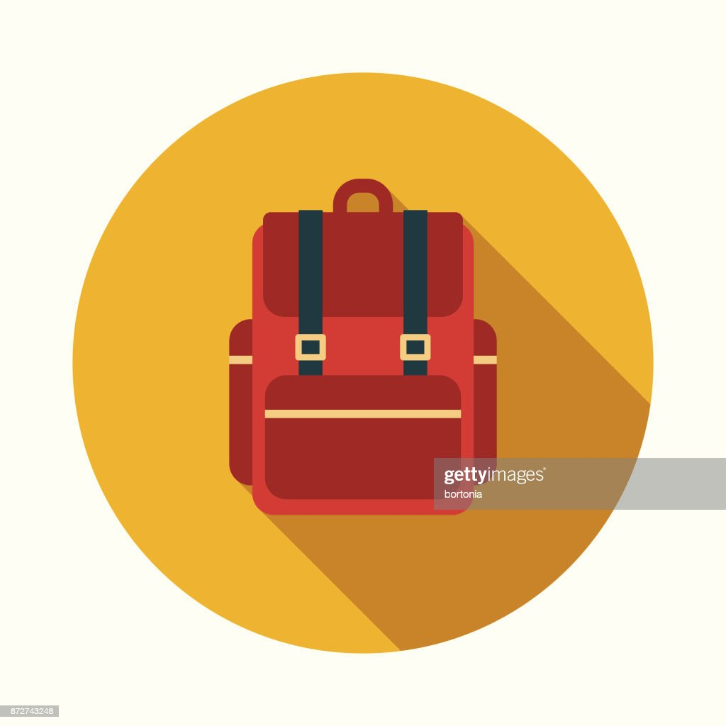 Backpack Flat Design Education Icon with Side Shadow