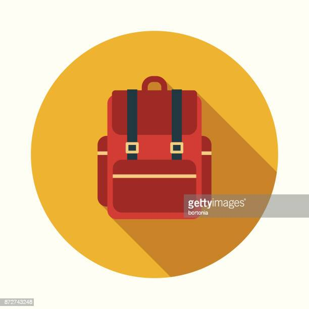 backpack flat design education icon with side shadow - rucksack stock illustrations
