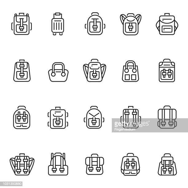 backpack icon set - rucksack stock illustrations