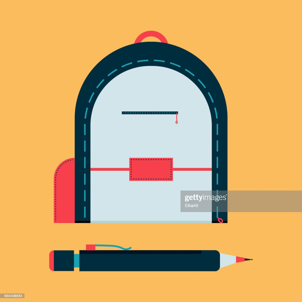 Backpack with mechanical pencil. School tool flat icon.