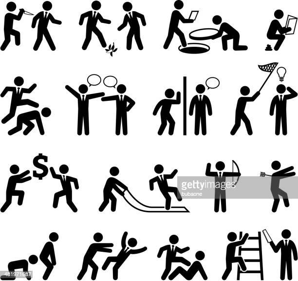 Backstabbing Office Politics and Businessman black & white icon set