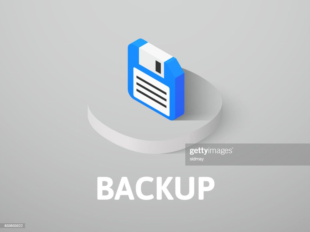 Backup isometric icon, isolated on color background
