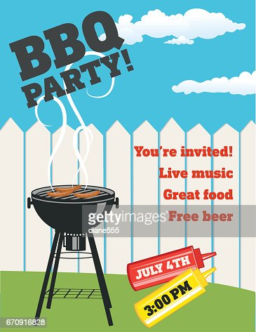 Backyard Bbq Background Invitation Template Vector Art Getty Images - Free bbq invitation template