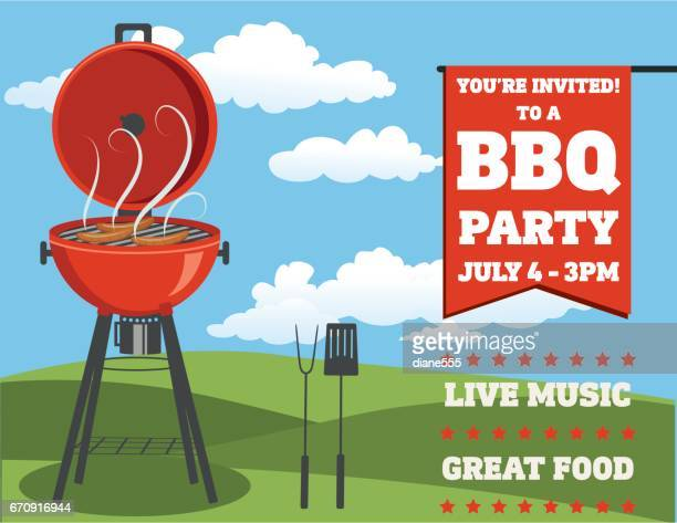 backyard bbq background invitation template - party social event stock illustrations