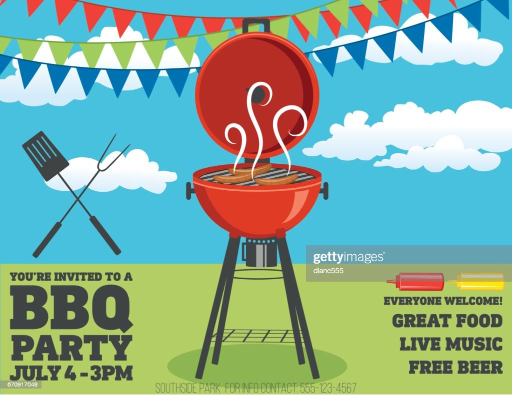 Backyard Bbq Background Invitation Template Vector Art | Getty Images