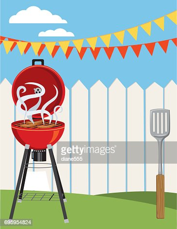 Backyard bbq background invitation template vector art getty images similar images stopboris Choice Image