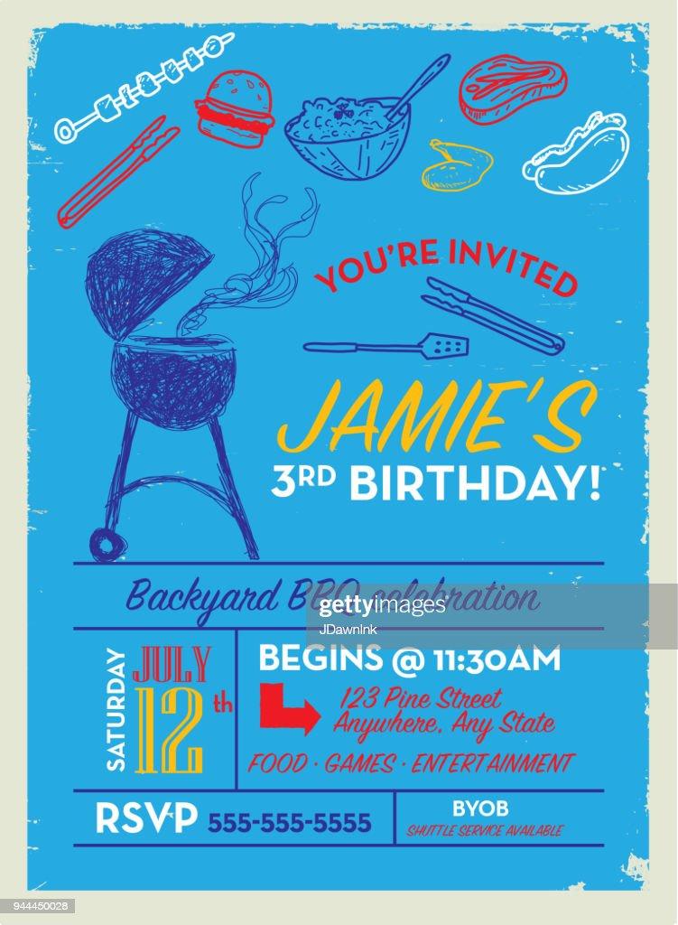 backyard bbq birthday party invitation design template vector art