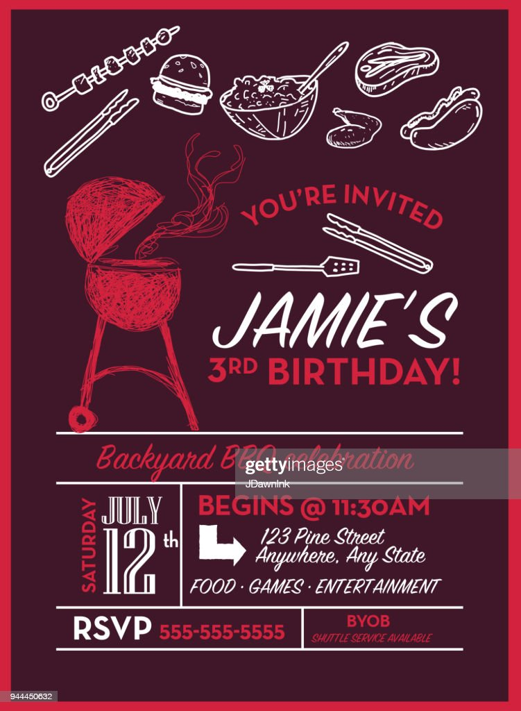 backyard bbq birthday party invitation design template vector art