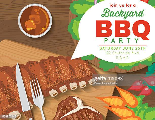 backyard bbq party invitation template - t bone steak stock illustrations, clip art, cartoons, & icons