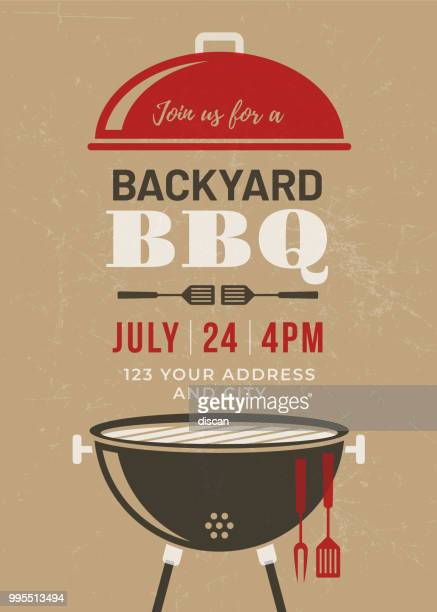 backyard bbq party invitation template - menu background stock illustrations