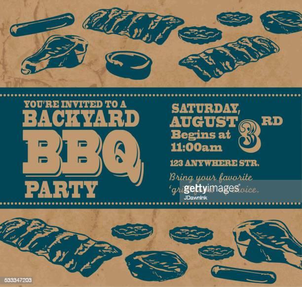 ilustrações de stock, clip art, desenhos animados e ícones de churrasco no quintal com tema azul convite modelo de banner - card file