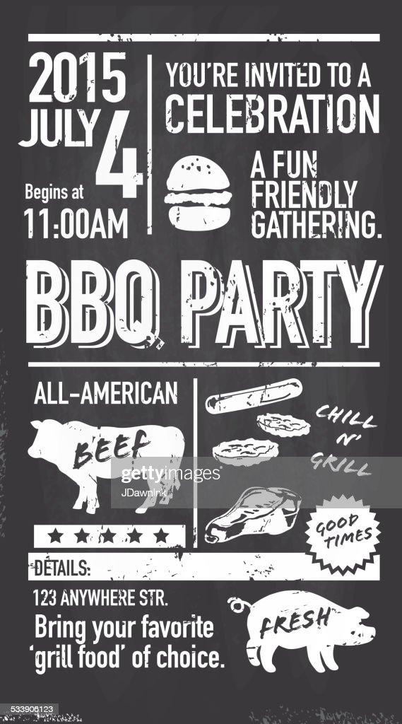 Backyard BBQ Themed Invitation Template Chalkboard Style : Vector Art