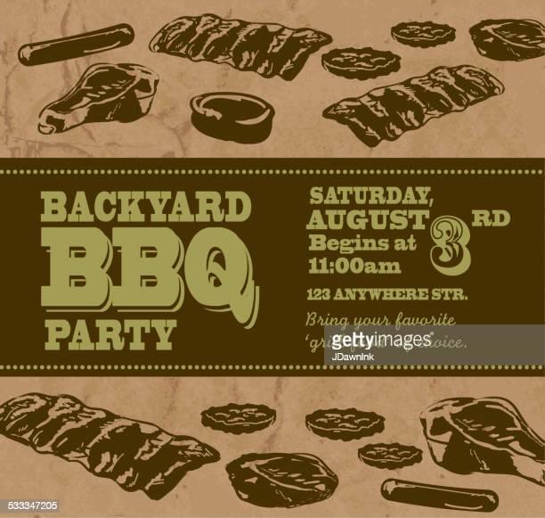 ilustrações de stock, clip art, desenhos animados e ícones de churrasco no quintal com tema convite modelo de texto - card file