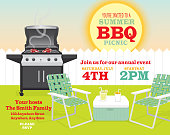 Backyard BBQ themed invitation template picket fence