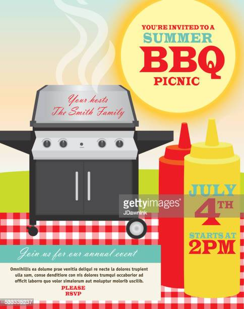 backyard bbq themed invitation template - food state stock illustrations, clip art, cartoons, & icons