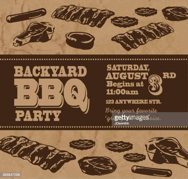 ilustrações de stock, clip art, desenhos animados e ícones de tema modelo de convite churrasco no quintal - card file