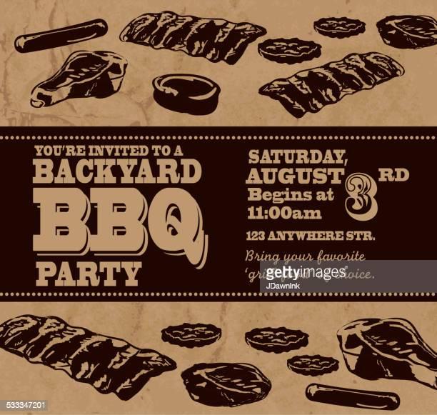 ilustrações de stock, clip art, desenhos animados e ícones de churrasco no quintal com tema modelo de convite com texto preto - card file