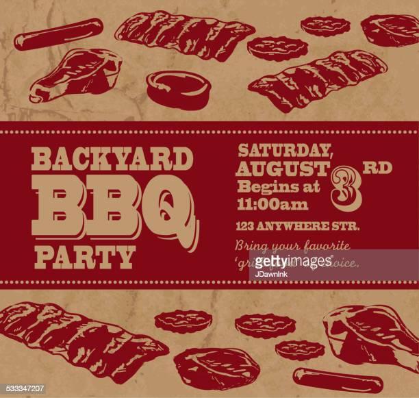 ilustrações de stock, clip art, desenhos animados e ícones de churrasco no quintal com tema modelo de convite com o texto a vermelho - card file