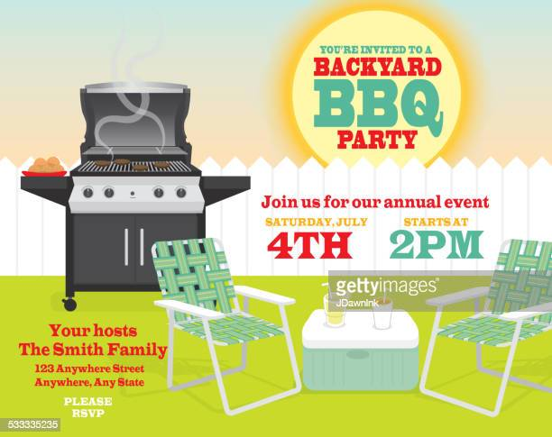 Backyard BBQ themed invitation template with sun and picket fence