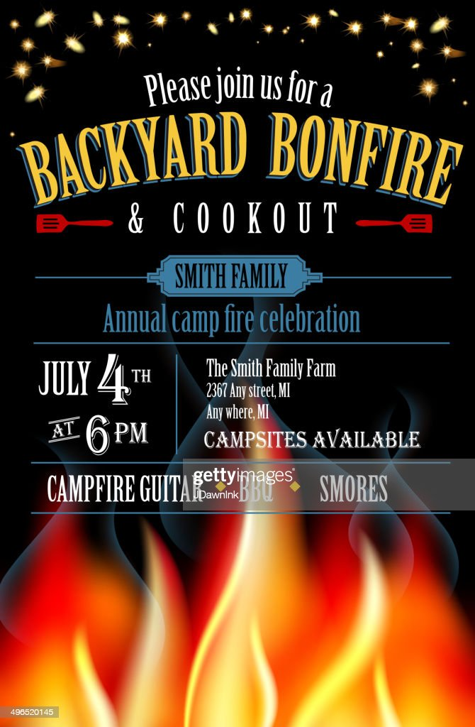 backyard bonfire and cookout invitation design template vector art