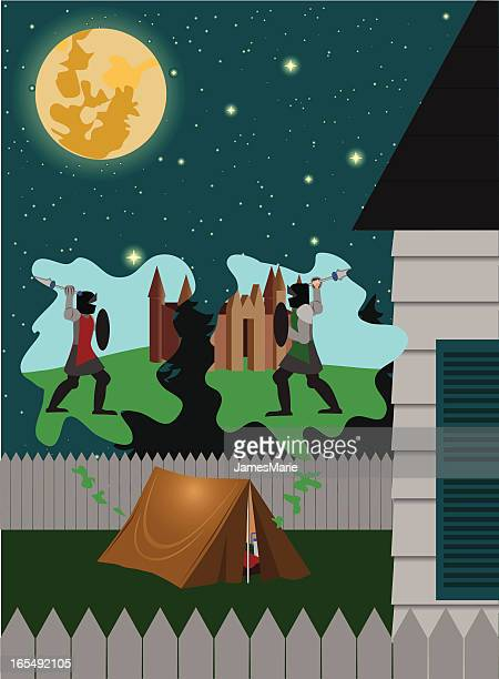 ilustrações, clipart, desenhos animados e ícones de backyard de acampamento - knight person