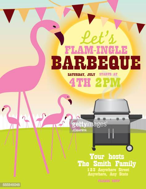 backyard 'flam-ingle bbq party invitation design template - flamingo stock illustrations, clip art, cartoons, & icons