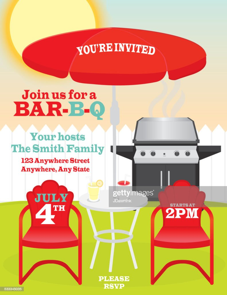 Backyard summer celebration invitation design red umbrella and chairs