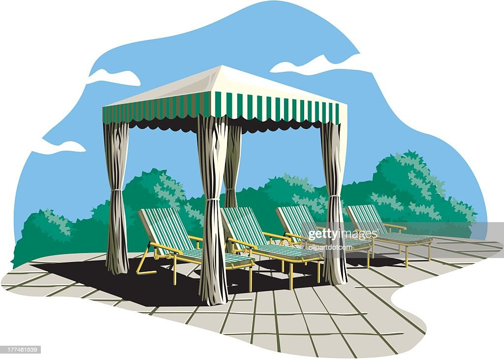 Backyard Sun Shade And Lounge Chairs