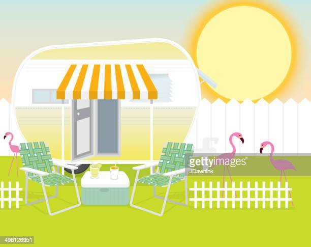 backyard trailer park summer celebration background design template - flamingo stock illustrations, clip art, cartoons, & icons
