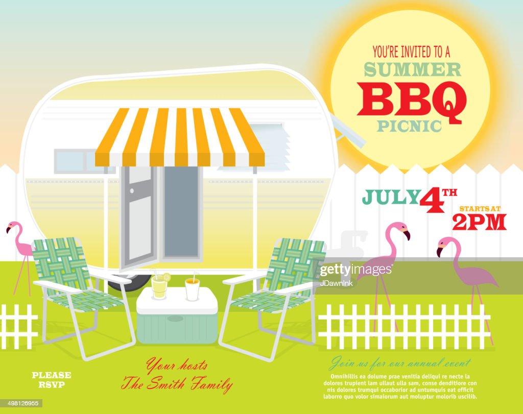 Backyard trailer park summer celebration invitation design template