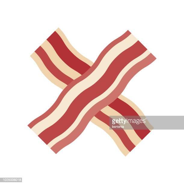 stockillustraties, clipart, cartoons en iconen met bacon platte ontwerp vlees pictogram - spek