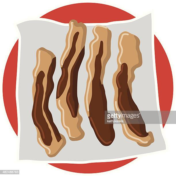 bacon on a plate - paper towel stock illustrations, clip art, cartoons, & icons