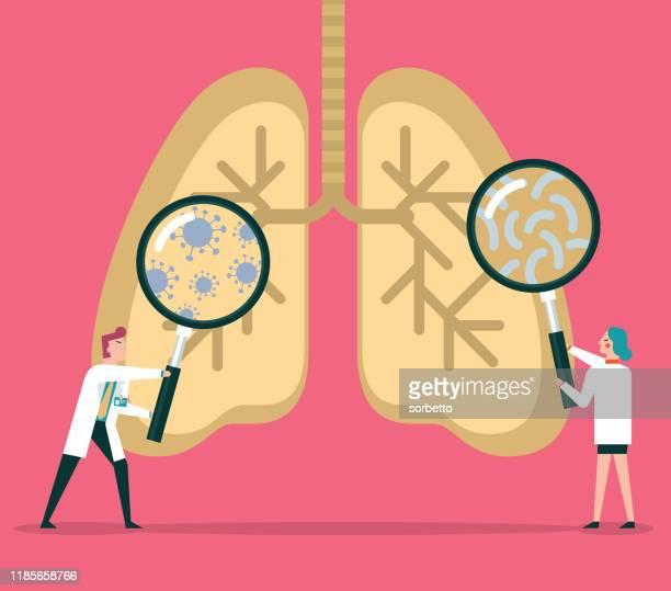 bakterien und viren in der menschlichen lunge - lungenkrebs stock-grafiken, -clipart, -cartoons und -symbole