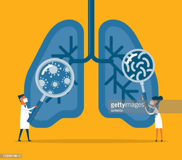 bacteria and viruses on human lungs - asthmatic stock illustrations