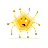 Bacteria character. Cartoon vector illustration. Microbiology