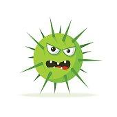 Bacteria character. Cartoon vector illustration. Microbiology