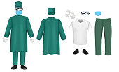 Bacteriological green protective suit set, vector isolated illustration