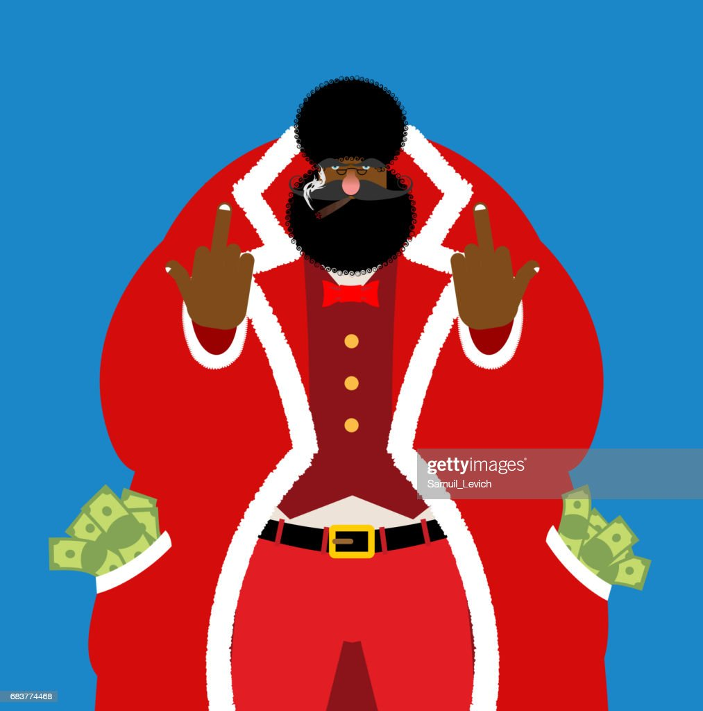 Bad Black Santa with cigar shows to fuck. Angry African Claus. H