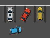 Bad car parking top view illustration.