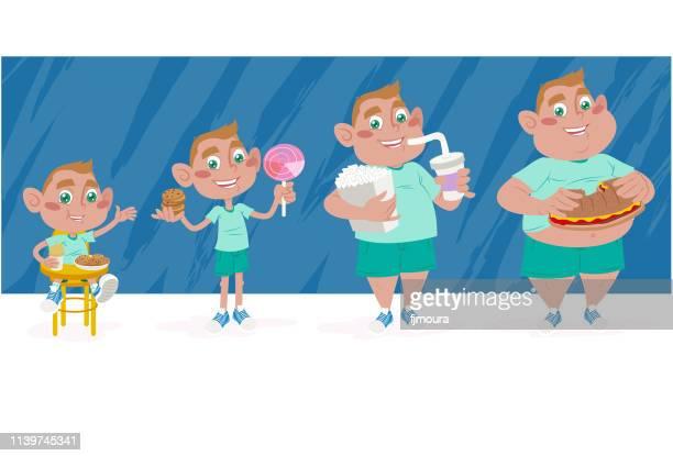 ilustraciones, imágenes clip art, dibujos animados e iconos de stock de mala comida para los niños - obesidad infantil